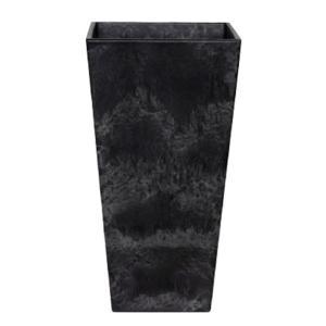 底面給水型 植木鉢/プランター 〔トールスクエア型 ブラック 幅35cm×高さ70cm〕 底栓付 『アートストーン』 〔園芸用品〕|mdmoko