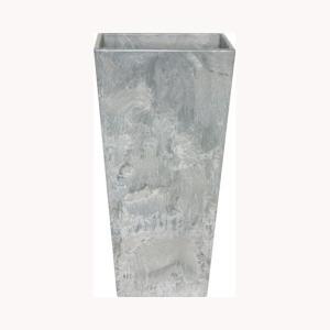 底面給水型 植木鉢/プランター 〔トールスクエア型 グレー 幅35cm×高さ70cm〕 底栓付 『アートストーン』 〔園芸用品〕|mdmoko