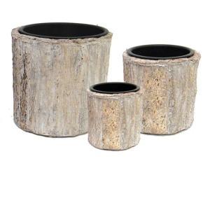 室内用植木鉢カバー 〔ホワイトウォッシュ ラウンド型〕 3サイズ×1組 インナーポット付 『タック』 〔園芸 ガーデニング用品〕|mdmoko