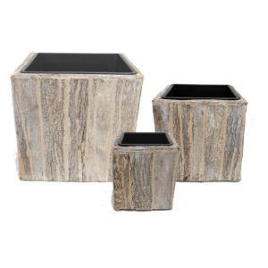 室内用植木鉢カバー 〔ホワイトウォッシュ スクエア型〕 3サイズ×1組 インナーポット付 『タック』 〔園芸 ガーデニング用品〕|mdmoko