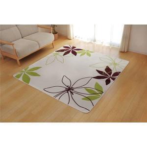ラグ ラグマット 2畳 洗える 花柄 リーフ柄 グリーン 185×185cm|mdmoko