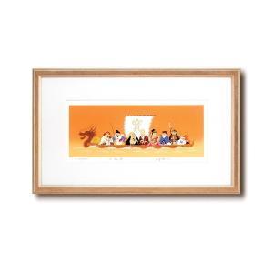 シルク版画/額付き 〔ワイドフレーム〕 吉岡浩太郎 「七福神」 387×645×13mm 化粧箱入り 日本製|mdmoko