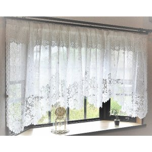 幅295x丈105cm 出窓用レースカーテン カフェカーテン(フリル付き) 日本製 mdmoko