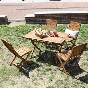 ガーデンテーブルセット 5点 折りたたみ 木製 カフェテーブ|mdmoko