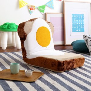 食パン 座椅子 目玉焼き パン プレゼント クッション|mdmoko