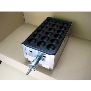 スタンダードな業務用たこ焼き器の1丁掛。都市ガス(12A/13A)用です。 18穴の大たこ用 鉄板 ...