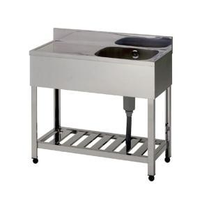 新品 [組立式] 業務用 水切り付 1槽シンク(流し台) W900xD450xH800mm (バックガード付) 右水槽タイプ [代引可]