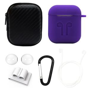 6 in 1 Apple AirPods用 シリコンケースセット Purple(パープル)AirPo...
