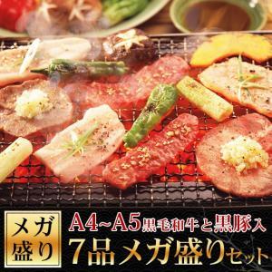 牛肉 A4〜A5ランク黒毛和牛入 7点メガ盛り 焼肉 バーベ...