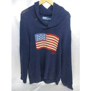 Polo by Ralph Lauren ラルフローレン USA国旗プルオーバーニット サイズM ネイビー メンズ medamaya