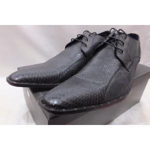 TORNADO MART トルネードマート パイソンレザー ドレスシューズ 革靴 サイズ L 箱付き 中古 ブラック|medamaya