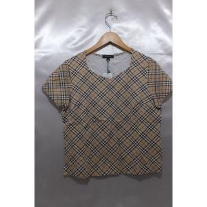 BURBERRY LONDON バーバリーロンドン Tシャツ カットソー ノバチェック タグ付き 未使用 サイズ4 ベージュ系 トップス レディース|medamaya