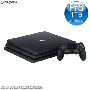 『中古即納』{本体}{PS4}プレイステーション4 プロ PlayStation4 Pro ジェット・ブラック 1TB(CUH-7200BB01)(20180927)|media-world