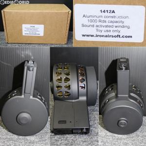 『新品即納』{MIL}IRON AIRSOFT(アイアンエアソフト) M4/M16用 Xproducts(Xプロダクツ) X-15スタイル 音感電動ドラムマガジン 1000連 BK(ブラック/黒)(1412a-1)|media-world