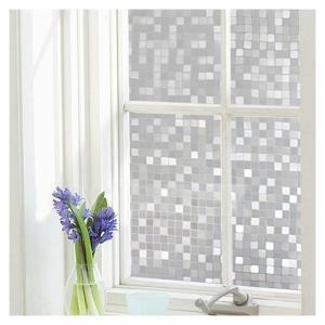 窓用フィルム 目隠しシート(格子柄] 90cm x 200cm 断熱 紫外線カット 飛散防止 無接着剤 再利用可能|mediacover