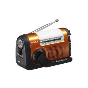 ソニー SONY ポータブルラジオ ICF-B09 : FM/AM/ワイドFM対応 手回し充電対応 オレンジ ICF-B09 D|mediaearth