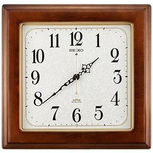 セイコー クロック 掛け時計 電波 アナログ 四角型 木枠 茶 木地 KS298B SEIKO|mediaearth
