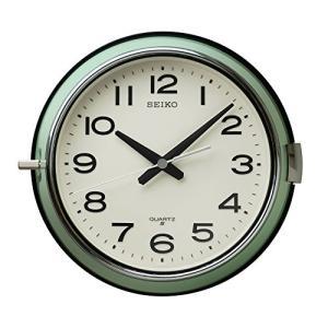 セイコー クロック 掛け時計 アナログ 防塵型 オフィスタイプ 金属枠 薄緑 KS474M SEIKO|mediaearth