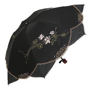 遮光蓮花刺繍ミニ折りたたみ日傘 (ブラック)|mediaearth