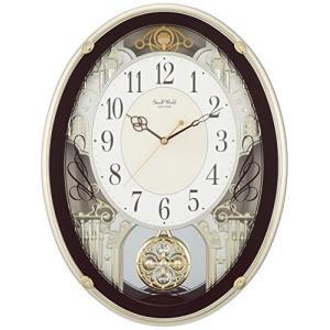 掛け時計 電波時計 からくり時計 メロディ付き スモールワールドプラウド ブラウン リズム時計 4MN523RH06|mediaearth