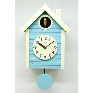 さんてる(Suntel) 掛け時計 405×240×140mm 国産 手作り 鳩時計 北欧カラー アクアブルー SQ03AB|mediaearth