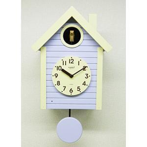 さんてる(Suntel) 掛け時計 405×240×140mm 国産 手作り 鳩時計 北欧カラー ラベンダー SQ03LD|mediaearth