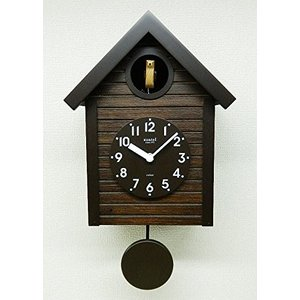 さんてる(Suntel) 掛け時計 405×240×140mm 国産 手作り 鳩時計 アンティークブラウン SQ04-AN|mediaearth