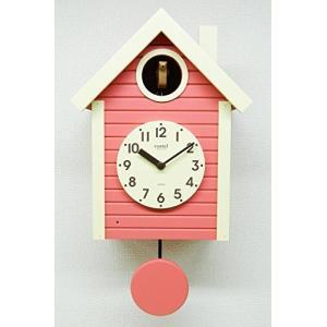 さんてる(Suntel) 掛け時計 405×240×140mm 国産 手作り 鳩時計 北欧カラー コーラルピンク SQ03CP|mediaearth