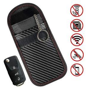 スマートキー 電波遮断用ポーチ リレーアタック防止 カーセキュリティ RFIDブロッキング スキミング防止 ブロッキング 圏外ポーチ 高級PUレザー|mediaearth