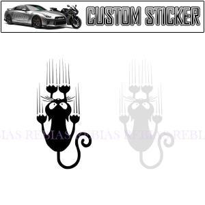 ステッカー 必死 にゃんこ 滑る 白猫 黒猫 猫 cat 車 バイク 家電 引っかき ネコ