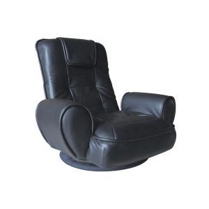 肘付き回転座椅子 ルピナ 座面低反発ウレタン 省スペースギア レザーブラック megaplain
