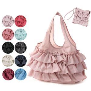 【メール便可】 LA LUICE フリルエコバッグ(小) ナイロン 無地 全7色 エコバッグ サブバッグ 折り畳み 買い物袋 折りたたみ コンパクト ショッピングバッグ|meggie