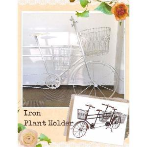 ヴァンスアイアン タンデムプラントホルダー  アンティーク風雑貨 ガーデン 花器 装飾什器 クラシカル 自転車 雑貨|meggie