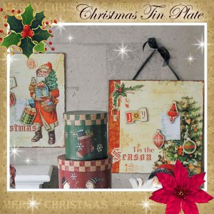 クリスマスウォールプレート  X'mas Tinプレート アンティーク風 雑貨|meggie