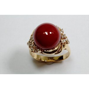天然血赤珊瑚11.6mm丸玉 リングK18  (鑑別書付)|megumi-1|02