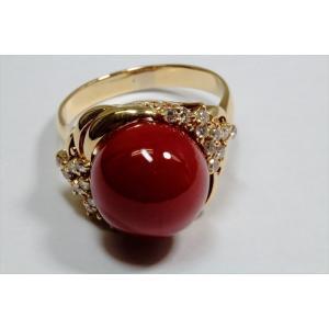 天然血赤珊瑚11.6mm丸玉 リングK18  (鑑別書付)|megumi-1|03