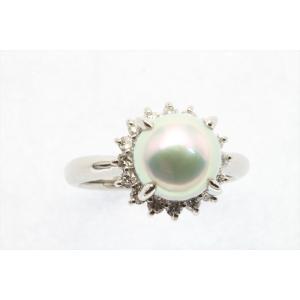 アコヤ真珠8.3mm[花珠]ダイヤモンドリングPt900 新品 レディース|megumi-1