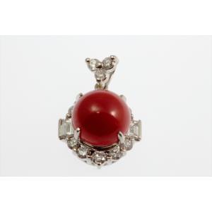 天然赤珊瑚 ダイヤモンドペンダントトップ PT900|megumi-1