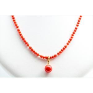 エレガントな魅力 天然赤珊瑚 ネックレス K18|megumi-1|02