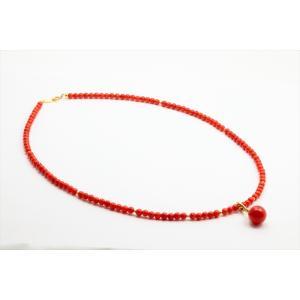 エレガントな魅力 天然赤珊瑚 ネックレス K18|megumi-1|03