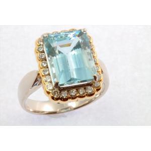 大粒アクアマリン ダイヤモンドリング PT900/K18|megumi-1