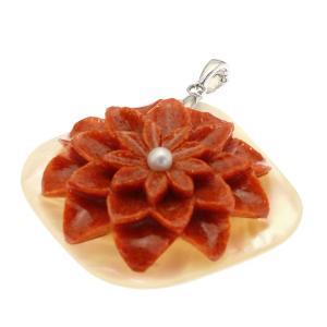 フラワーモチーフ赤珊瑚 淡水パール シェルネックレス SV925|megumi-1