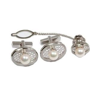 GALLERY megumi  保証書付き 透かしデザイン あこやパール 真珠 ネックタイピン カフス ボタン セット SV925 フォーマル用|megumi-1