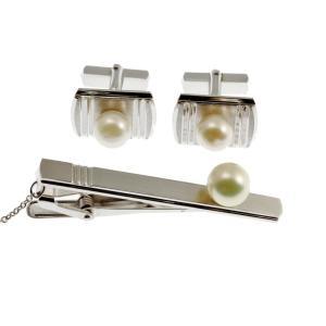 GALLERY megumi  保証書付き あこやパール 本真珠 ネックタイピン カフスボタン セット SV925 a2 フォーマル用|megumi-1