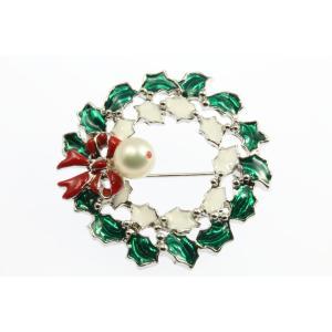 あこや真珠8.5mm珠 ルビー クリスマス リース ブローチ(七宝焼き)|megumi-1