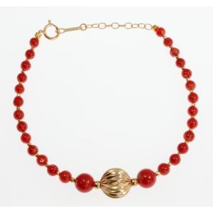 天然赤珊瑚ブレスレット K18|megumi-1
