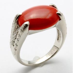 天然赤珊瑚 ダイヤモンドリング PT900 no3 新品 レディース|megumi-1