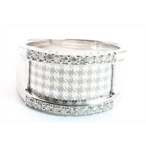 上質ダイヤモンド&レーザーデザイン彫りリング K18WG 新品 レディース|megumi-1