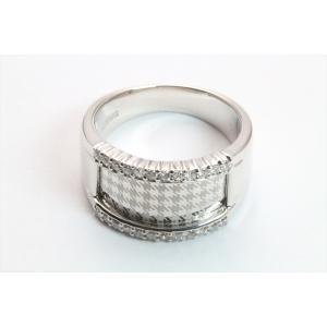 上質ダイヤモンド&レーザーデザイン彫りリング K18WG|megumi-1|02