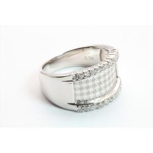 上質ダイヤモンド&レーザーデザイン彫りリング K18WG|megumi-1|03